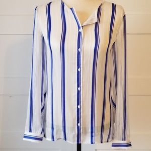 Ann Taylor Sheer Striped Split Tulip-Back Blouse